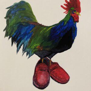 rooster in reds